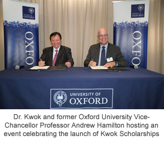 Dr. Kwok and former Oxford University Vice-Chancellor Professor Andrew Hamilton hosting an event celebrating the launch of Kwok Scholarships